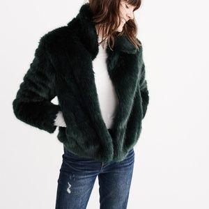 NWT Abercrombie Faux Fur Teal Green Short Coat